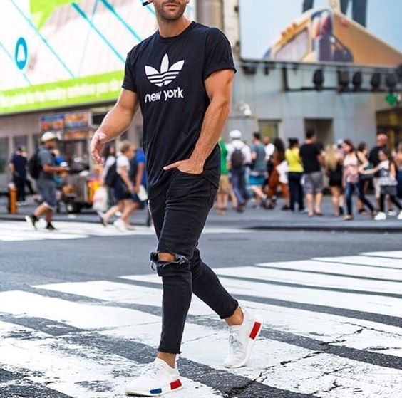 addidas tee on black rippled jeans and trainers