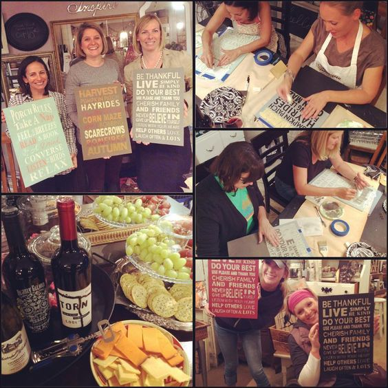 "diy | vintage | home on Instagram: ""wine, paint, create night was a blast!! We custom designed, hand painted and stenciled subway art signs. Such fun decor pieces or what a fabulous gift!! Join us next month, October 21st @elandem1942 for another WPC project. Link in profile for more info. #wine #paint #create #nights #goodtimes #goodfriends #Fall #DIY #decor #subway #style #art #workshops #getcrafty #fun #friends"":"