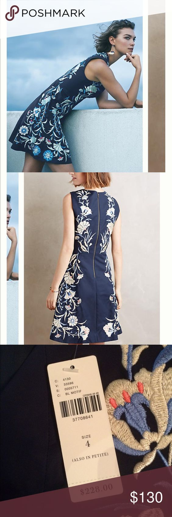 Moulinette Soeurs embroidered navy dress NWT sz 4 NWT. I love this dress but kept it in a different size. Again, didn't return in time so selling here. Anthropologie Dresses Mini