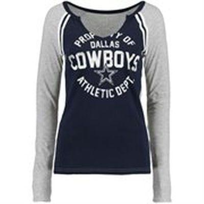 Men's Dallas Cowboys Navy Wordmark Long Sleeve T-Shirt