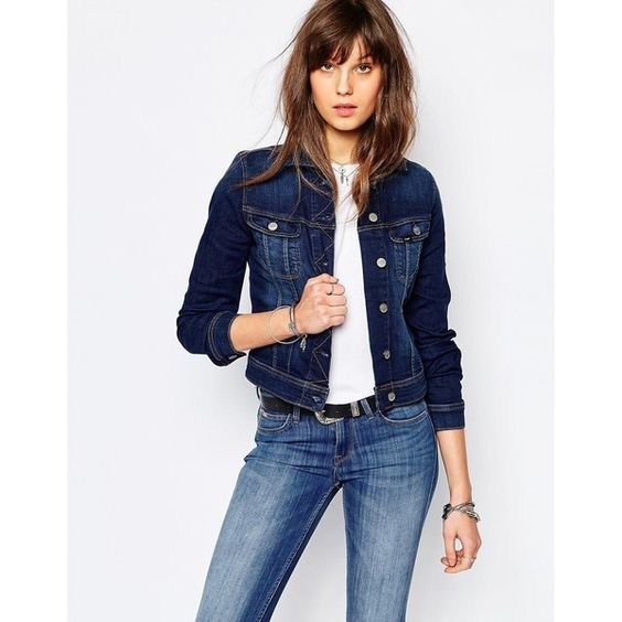 Lee Rider Slim Denim Jacket ($100) ❤ liked on Polyvore featuring outerwear, jackets, blue, pocket jacket, slim denim jacket, blue jean jacket, slim jean jacket and slim fit jackets