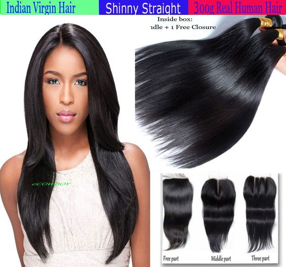 3 Bundle Indian Straight Virgin Remy Human Hair With Free Lace Closure Set Deal