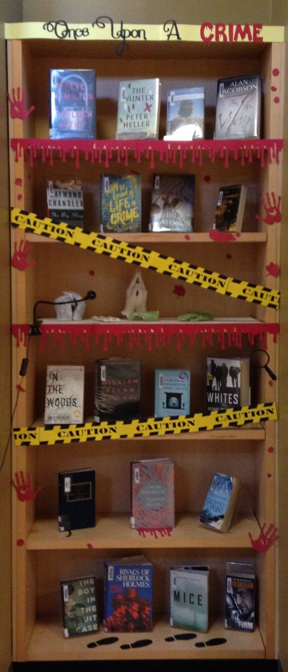 Once Upon a Crime, Halloween display, Halloween library display, crime scene, mystery books display, library display, high school library, library bulletin board: