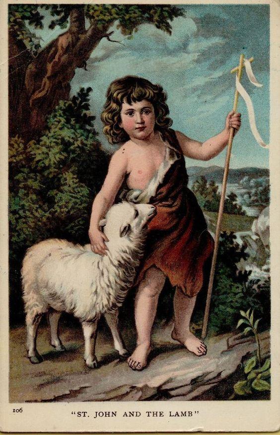 Vintage Easter Religious St. John Greetings Postcard Card Victorian Embossed #Easter