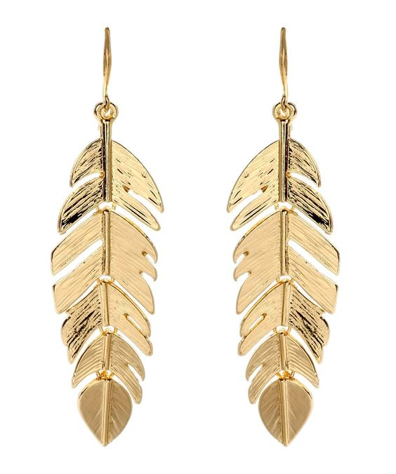 Amrita Singh Gold Tone Leaf Drop Earrings RRP £35.00 Material: Brass Measurements:  5.1cm x 1.9cm Essential Details: Gold-Tone brass earrings with single hanging leaf motif Colour: Gold-Tone