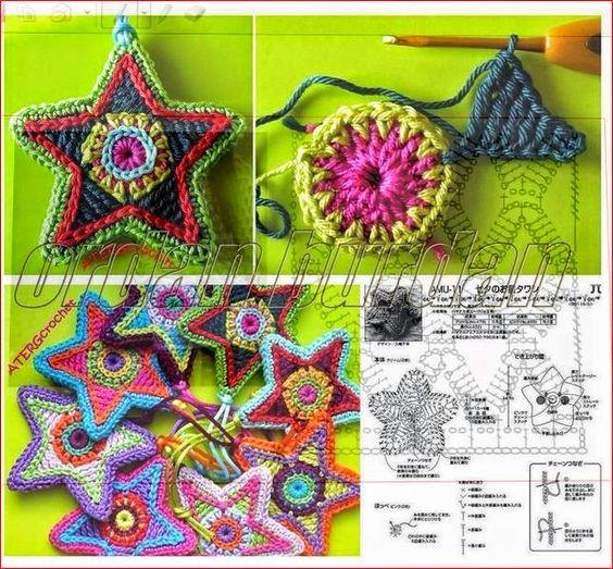Patrón de estrella tejida al crochet con combinación de colores