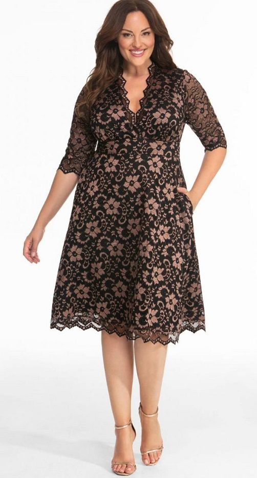 Plus Size Black Lace Dress | Plus size wedding guest dresses ...