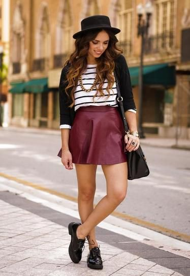 how to style oxford shoes - with an oxblood leather skirt, a stripe shirt, blazer and fedora