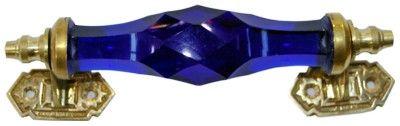 Blue Cut Glass  Door Handle