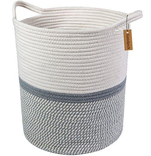 Goodpick Large Cotton Rope Basket 14 2 X 13 4 X 16 2 Baby Laundry Basket Tall Woven Basket Blanket Nurser