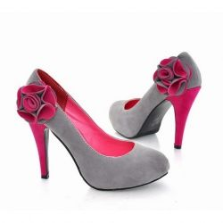 Stylish Stereo Flower Embellished Dull Polish High-Heeled Shoes For Women