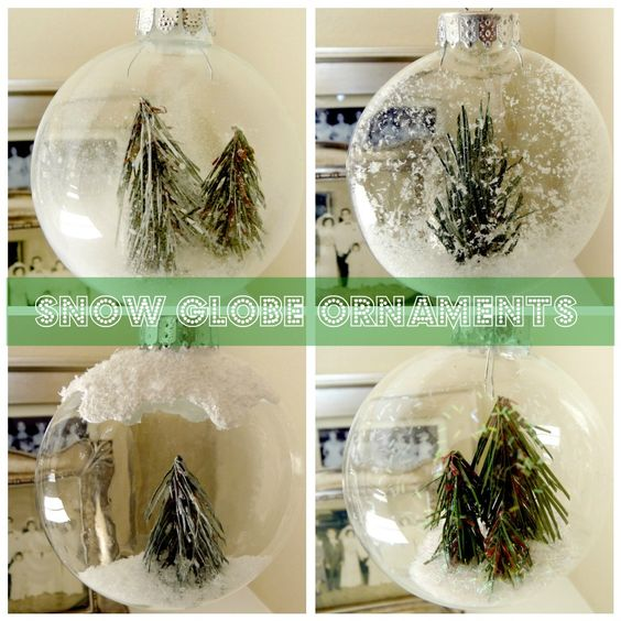 † How to Make Winter Wonderland Snow Globe Ornaments - this is a really cute and clever idea! MUST find some of the glitter spray that makes the snow work! I also really like the puffy paint on top. :): Christmas Decoration, Homemade Christmas Ornaments, Diy Craft, Christmas Ideas