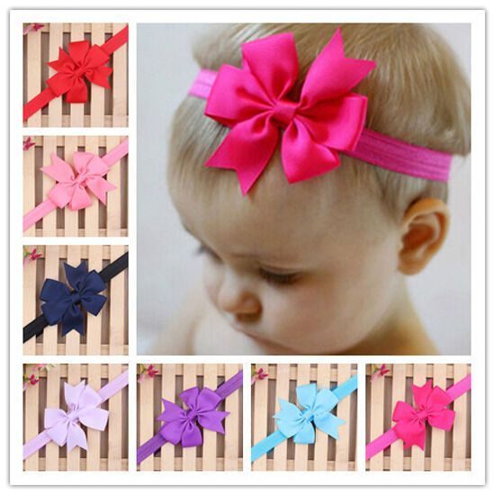 20x Baby Kids Girls Hairband Toddler Hair Bow Band Grosgrain Ribbon Accessoriesa