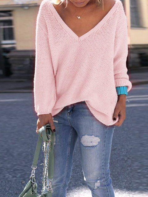 Casual Solid Womens Long Sleeve V Neck Jumper O Neck Elegant Fashion Loose New