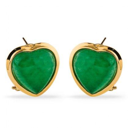 Par de Brinco de Ouro Amarelo com Jade Verde