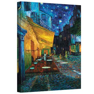 Art Wall ''Cafe Terrace at Night'' by Vincent Van Gogh Painting Print on Canvas