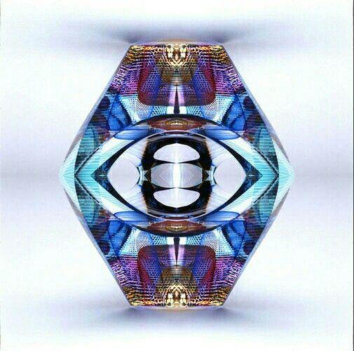Symmetry photo of a blue lamp