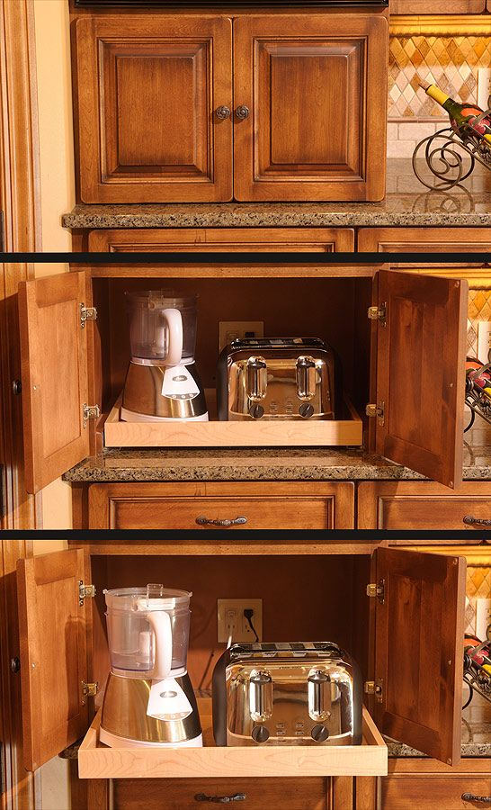 Appliance garage cabinets and traditional kitchens on for Traditional kitchen appliances