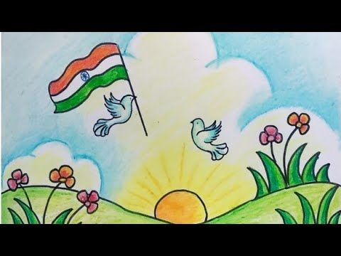 Step By Step Drawing Of Independence Day Image For Kids Easy Drawing Of Indian Flag Youtube Flag Drawing Easy Drawings Basic Drawing For Kids