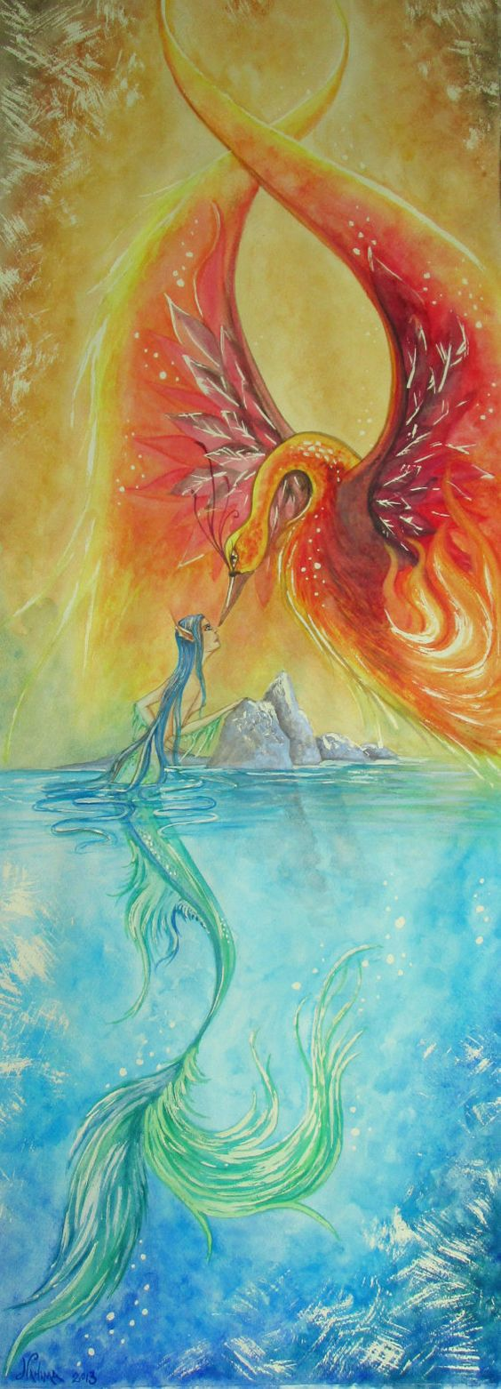 Watercolor on paper 30 x 80 cm  The Meeting of Water by NahimaArt, €200.00