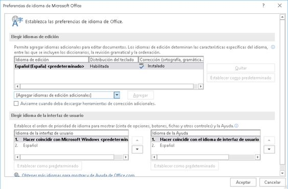 Establecer preferencias de idioma en Ms Windows