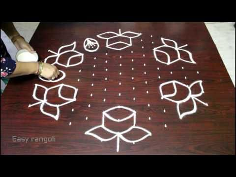 Rose Flower Kolam Designs With 15 8 Middle Chukkala Muggulu With Dots Rangoli Design Youtube Rangoli Designs With Dots Rangoli Designs Simple Rangoli