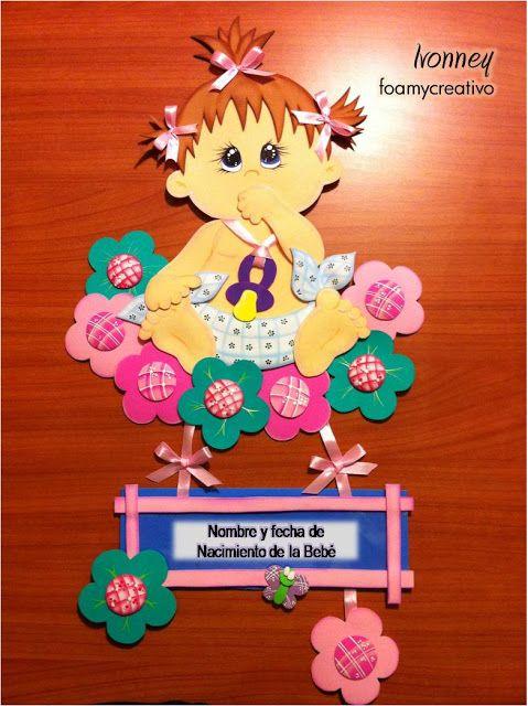 Cartel bebe en foami, Niña con flores, foamycreativo