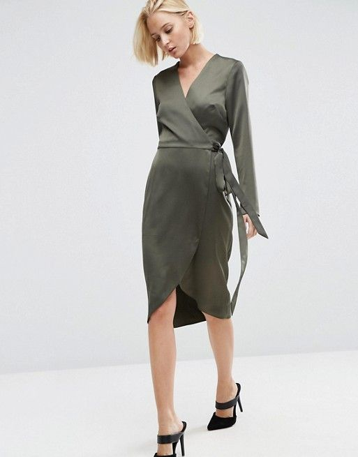 ASOS | ASOS Midi Wrap Dress in Satin