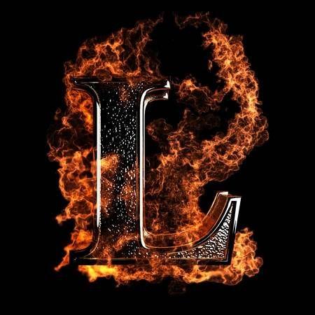 Burning Letter Made In 3d Graphics Poster Background Design Letter L Lettering