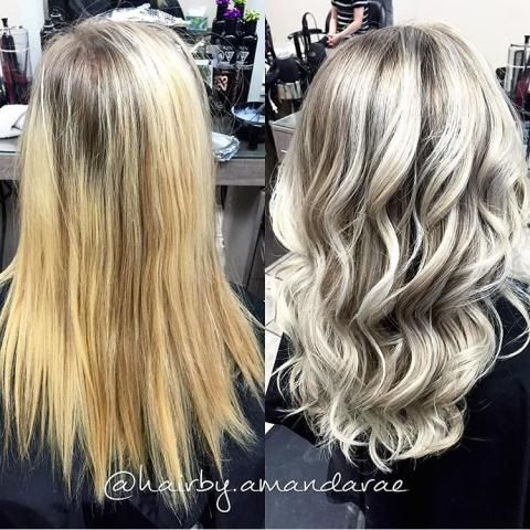 """""""Courtney was actually a new client who found me through social media,"""" says Amanda Rae(@hairby.amandarae) of Amara Salon and Spa (@amarasalonandspa), Regina, Saskatchewan. """"She came in with about 2"""" of regrowth from a full head of foils and said that she wanted to be a lighter blonde, but more natural. She brought in pictures of a balayage blonde. Her goal was to still be super blonde but something that was easier to maintain since she is a student."""" Here Rae shares the how to for this…"""