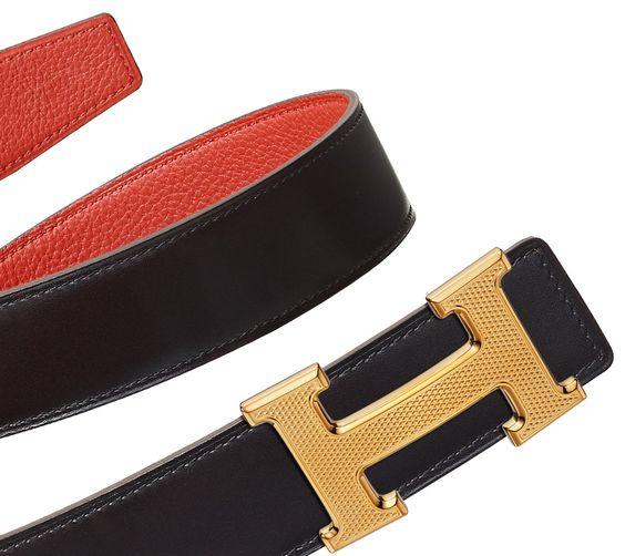 hermes birkin 30 price - Women's reversible leather belt strap in black Box calfskin and ...