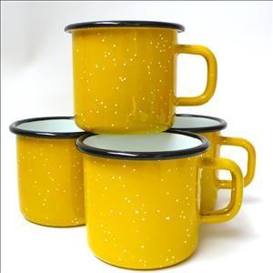 Utility's yellow speckle enamel mug. I am dumbstruck. It's such a great colour.8cm high, 8cm diameter.