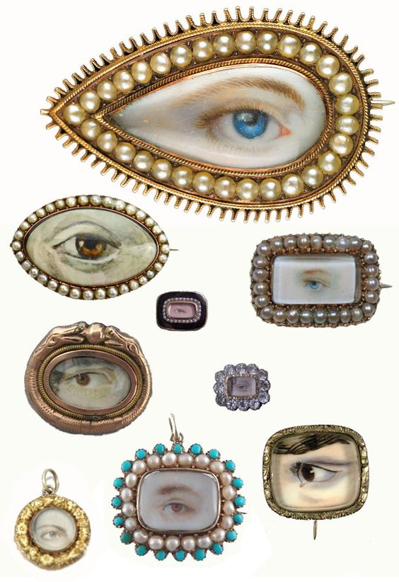 lovers eye brooches. so very lovely and special and odd