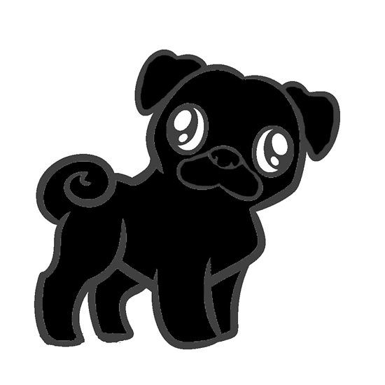 Pug Black Cartoon Black Cartoon Black Pug Puppies Pugs