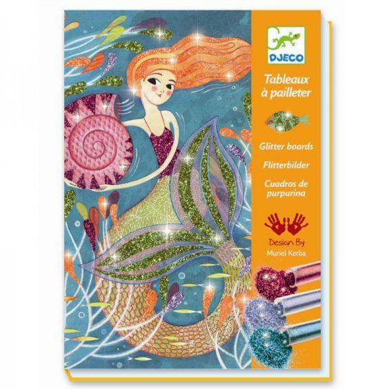 DJECO Kreativset Glitzerbilder Meerjungfrauen - lohnende Bonuspunkte sammeln, auf Rechnung bestellen, DHL Blitzlieferung