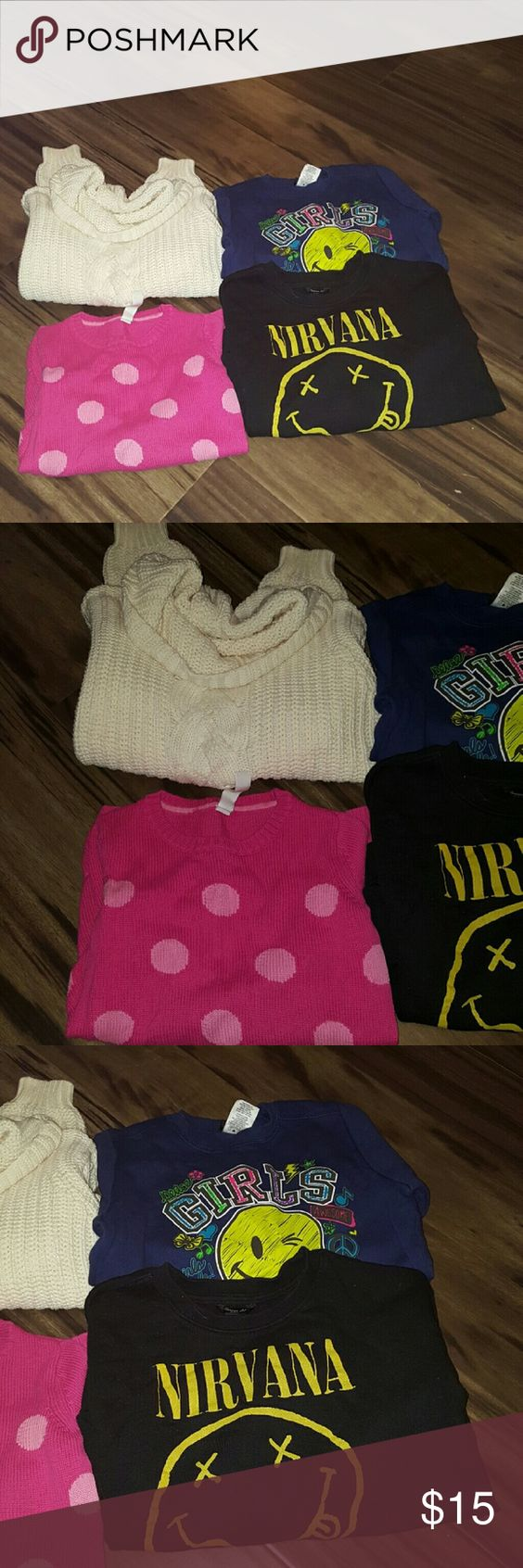 Bundle of little girl's sweaters Bundle of 4 little girls sweaters all in great condition.  White turtle neck is a 9/10 but fits more like a 7/8, pink one is a 6x, nirvana is a medium, and the Navy girls varsity one is also a 6x Forever 21 Shirts & Tops Sweaters