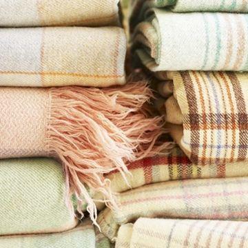 plaid pastel blankets via dress design decor: Plaid Blankets, Pastel Blankets, Peachy Pinks, Cozy Blankets, Dress Designs, Interior Detailing, Pastel Interiors, Cozy Beds