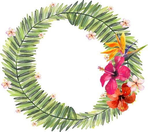 Greenery Clipart Tropical Floral Wreath Clipart Palm Leaf clipart Watercolor Tropical Wreath Greenery Wreath Tropical clipart
