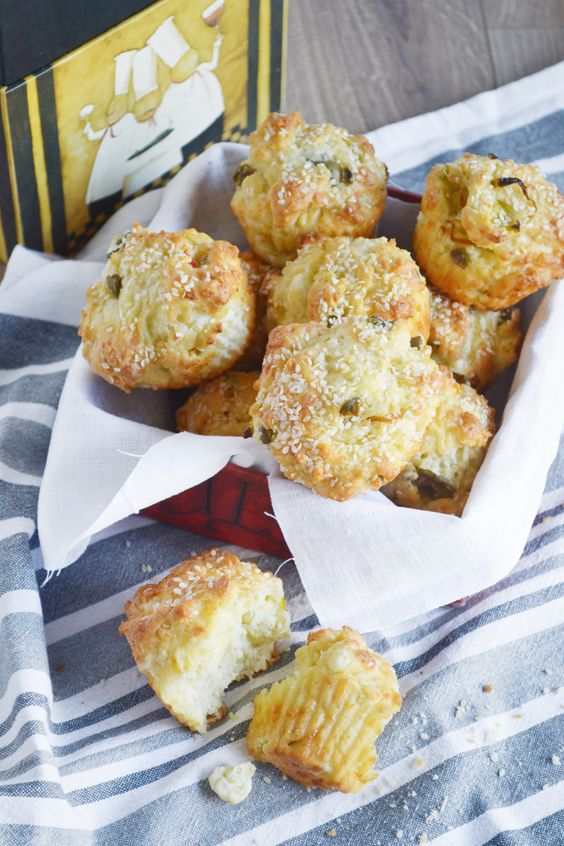 savory muffins with feta, olives and peppers