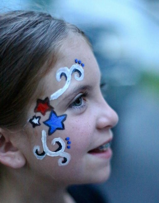 Easy 4th Of July Face Painting Ideas Fourth Of July Usa Red White Blue Patriotic Body Painting Blue Face Paint Face Painting Easy Face Painting Designs
