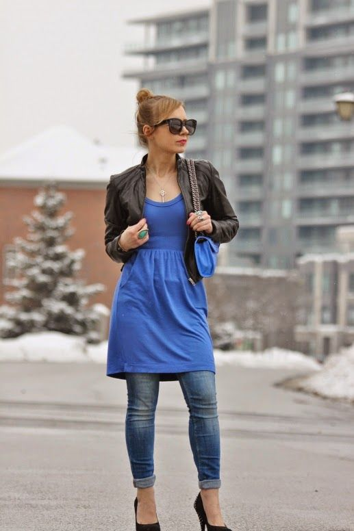 Lush dress over jeans with biker jacket, Celine sunnies, Rebecca Minkoff purse and stilettos.
