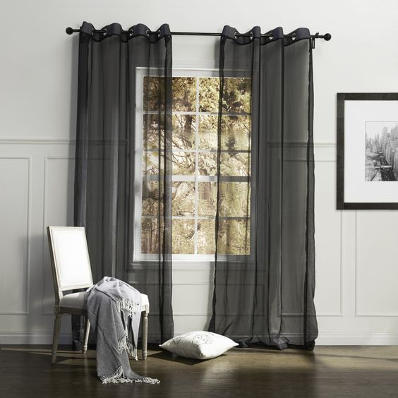 Curtains Ideas black sheer curtain : Country Elegant Black Solid Eco-friendly Sheer Curtain #sheer ...