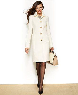 $179.98 Anne Klein Wool-Cashmere-Blend Club-Collar Walker Coat