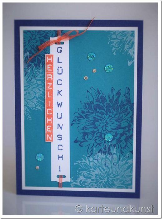 Geburtstagskarte in Marineblau und Petrol