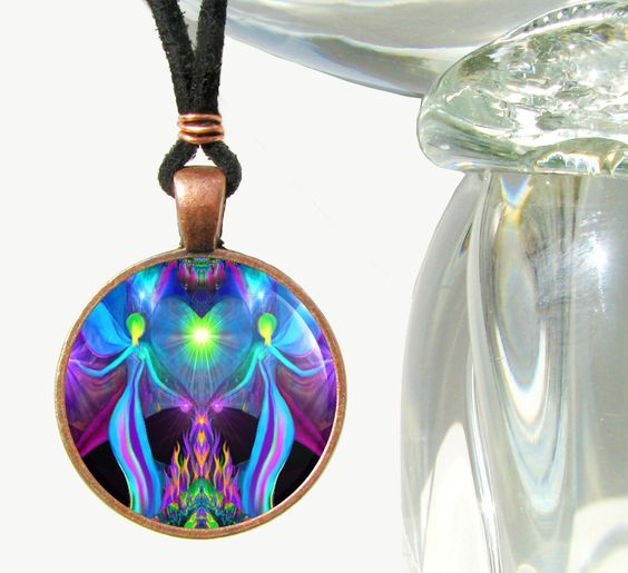 Twin Flames Necklace Violet Flame Heart Chakra by primalpainter