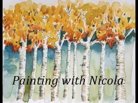 Painting With Nicola Autumn Fall Silver Birch Trees Youtube