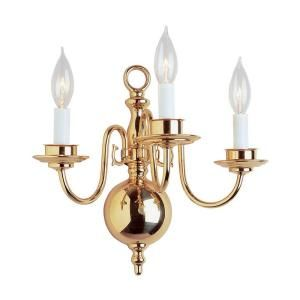 Filament Design Cabernet Collection 3-Light 4.75 in. Polished Brass Wall Sconce