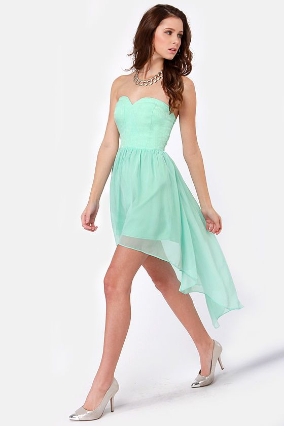 Sea Star Strapless Mint Blue Dress - Grey- Strapless dress and ...