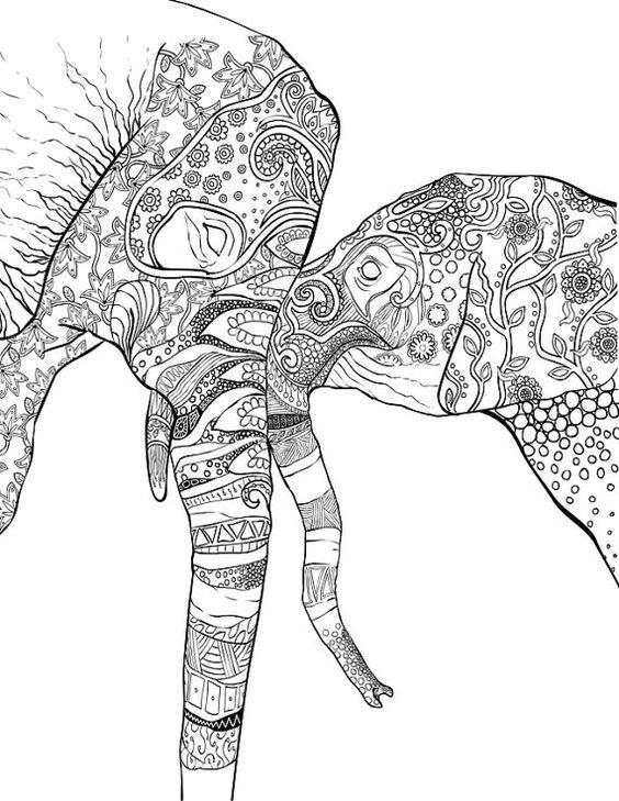 Advanced Coloring Pages Elephant : Aquarelles livre and stylos en gel on pinterest