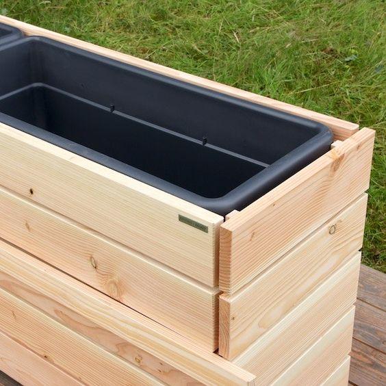 Pflanzkasten   Pflanzkübel lang aus Holz, Transparent Geölt Grau - outdoor küche selber bauen